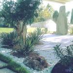 Realizzazione giardino con sassi marmo di carrara